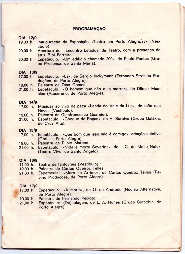 arte da programação do I ENCONTRO ESTADUAL DE TEATRO - Assembleia Legislativa RS - Porto Alegre - RS - 1977