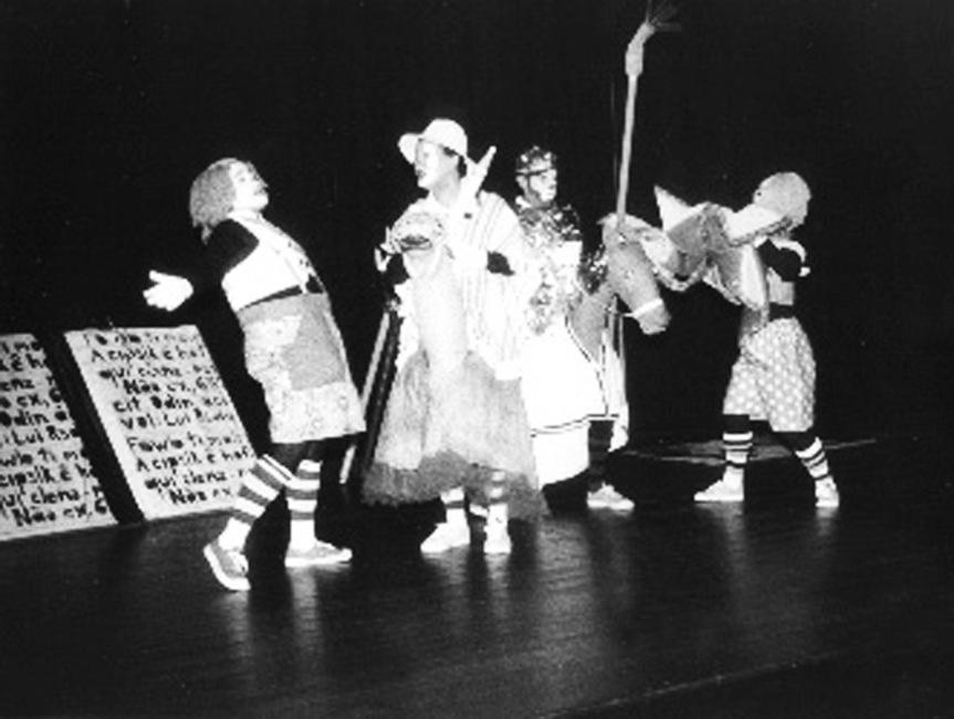Salsicha (Cida Mendes ), Sancho Pança (Heitor Schmidt), D. Quixote (Carlos Becker) e Meio litro (Daisy da Silva)