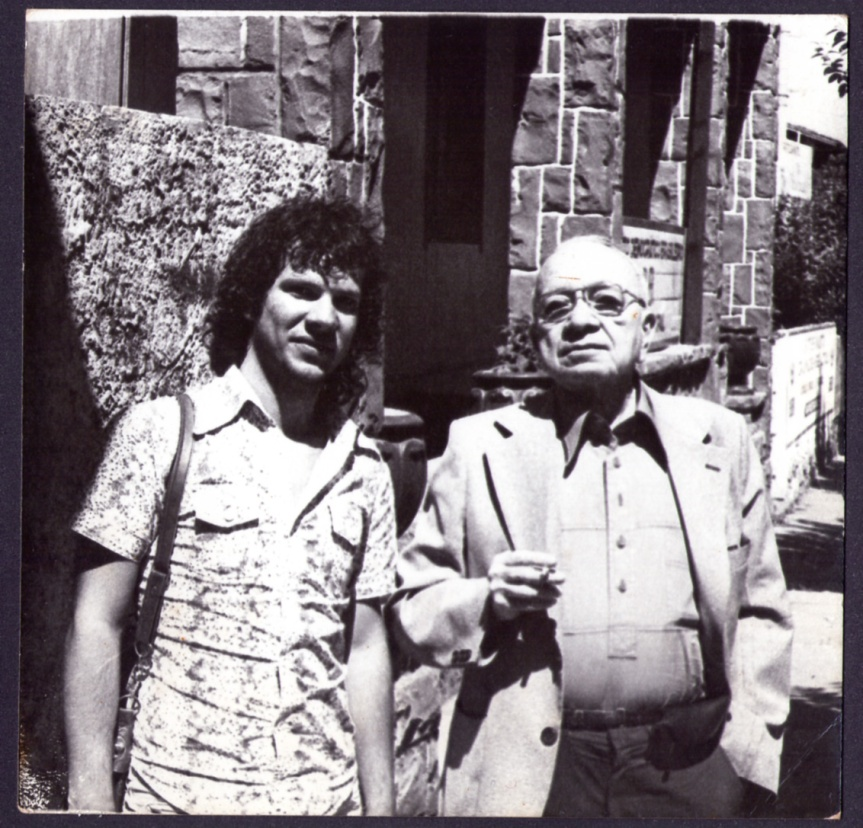 Heitor Schmidt e Mário Quintana. Em Gramado - RS - 1978 (Foto: Irineu Guarnier Filho)