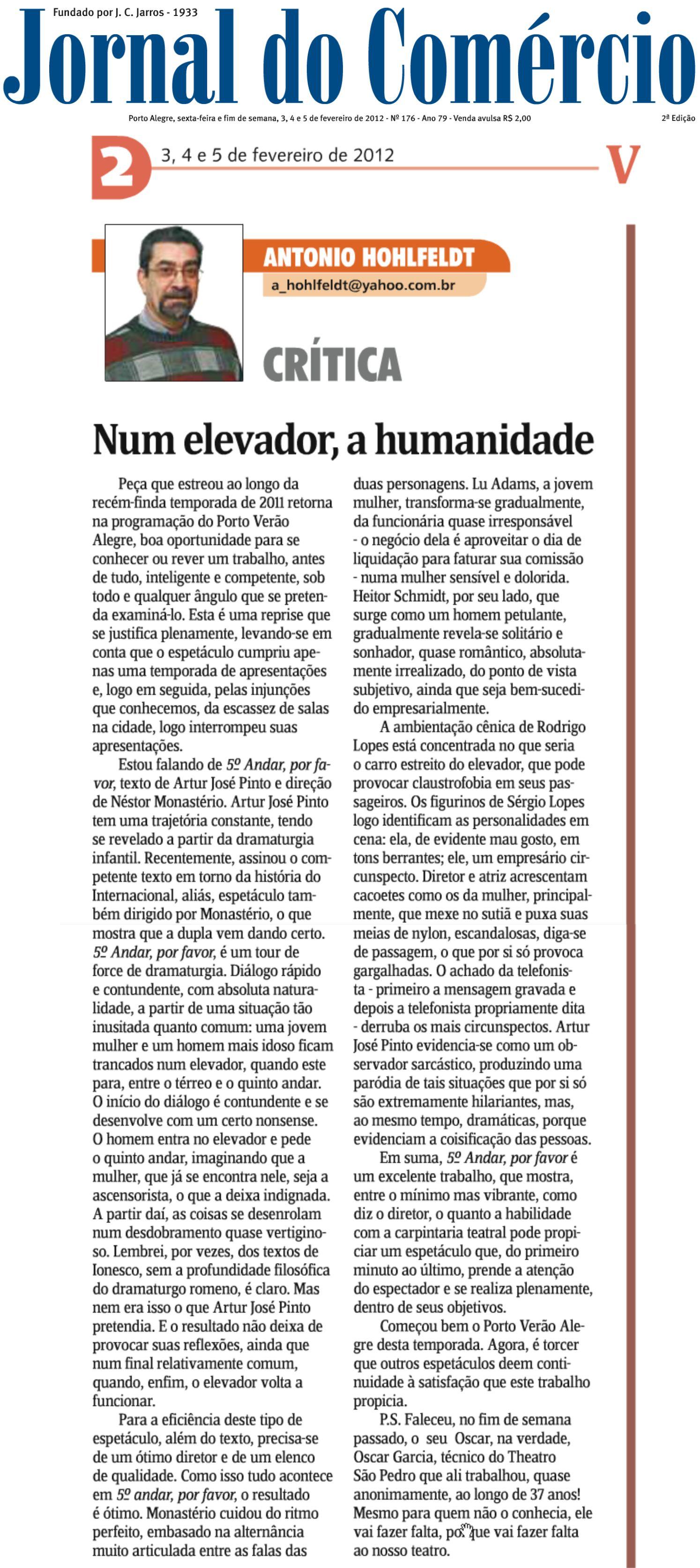 Crítica - Jornal do Comércio - Porto Alegre - fevereiro 2012