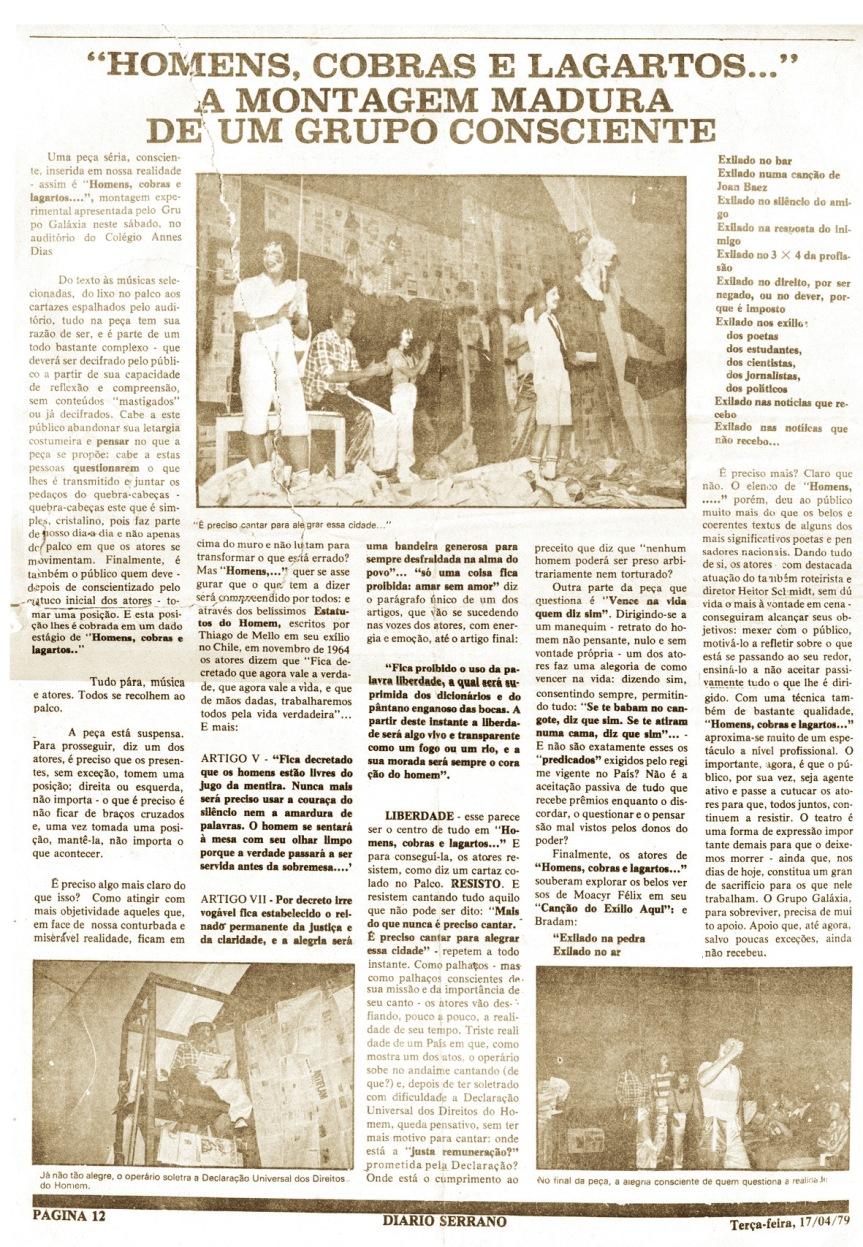 Crítica - Diário Serrano - Cruz Alta/RS - 17/04/1979